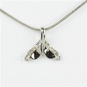 Rhinestone Pendant Necklace IRIS Silver Color Chain snake mesh L40-45cm 77217