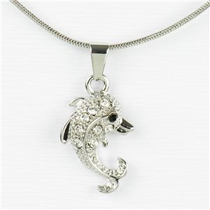 Rhinestone Pendant Necklace IRIS Silver Color Chain snake mesh L40-45cm 77219