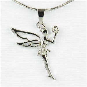 Rhinestone Pendant Necklace IRIS Silver Color Chain snake mesh L40-45cm 77232