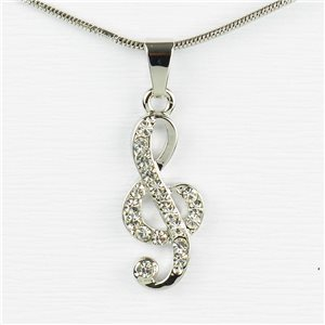 Rhinestone Pendant Necklace IRIS Silver Color Chain snake mesh L40-45cm 77239