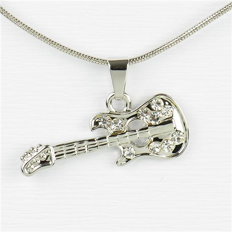 Rhinestone Pendant Necklace IRIS Silver Color Chain snake mesh L40-45cm 77241