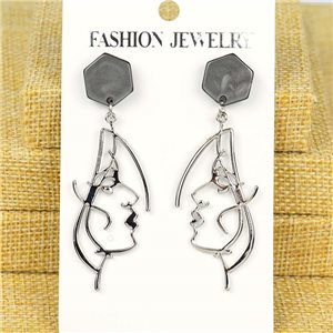 1p Earrings Nail 60mm metal color SILVER New Graphika 77360