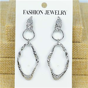 1p Earrings Nail 60mm metal color SILVER New Graphika 77370