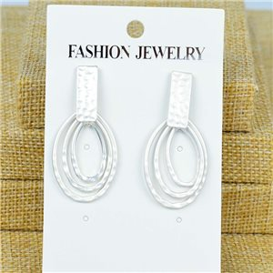 1p Earrings Nail 45mm metal color SILVER New Graphika 77372