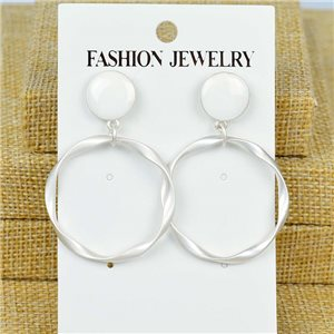 1p Earrings Nail 45mm metal color SILVER New Graphika 77388