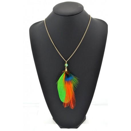 Feather Necklace pendant on a gold chain L60 cm 62334