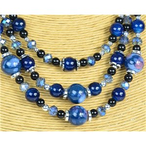 New Collection 2019-2020 Adornment Necklace 3 rows of Pearls in Suspension L44-48cm 77164