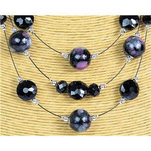 New Collection 2019-2020 Adornment Necklace 3 rows of Pearls in Suspension L44-48cm 77167