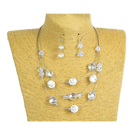 New Collection 2019-2020 Adornment Necklace 3 rows of Pearls in Suspension L44-48cm 77168