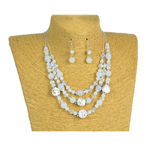 New Collection 2019-2020 Adornment Necklace 3 rows of Pearls in Suspension L44-48cm 77174