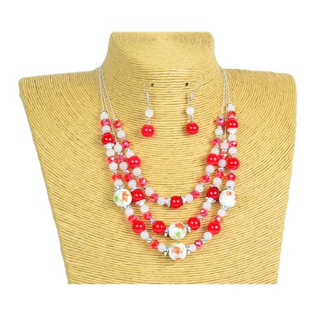 New Collection 2019-2020 Adornment Necklace 3 rows of Pearls in Suspension L44-48cm 77175
