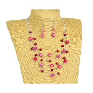 New Collection 2019-2020 Adornment Necklace 5 rows of Pearls in Suspension L44-48cm 77182