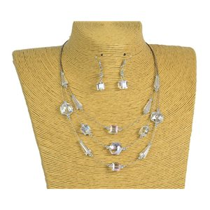 New Collection Parure Collier 3 rangs de Perles en Suspension L44-48cm 77186