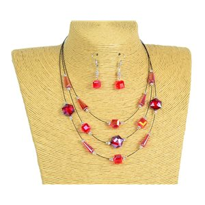 New Collection Parure Collier 3 rangs de Perles en Suspension L44-48cm 77188