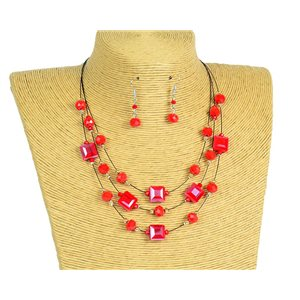 New Collection Parure Collier 3 rangs de Perles en Suspension L44-48cm 77193