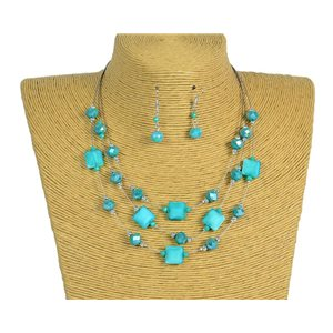 New Collection Parure Collier 3 rangs de Perles en Suspension L44-48cm 77194