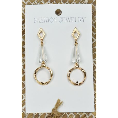 1p Earrings Gold Nail Pearl Crystal Chic Collection 77435