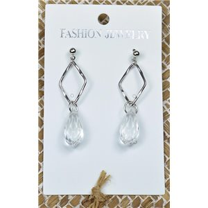 1p Earrings Silver Nail Pearl Crystal Chic Collection 77436