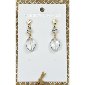 1p Earrings Golden Nail Pearl Crystal Chic Collection 77439