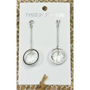 1p Earrings Silver Nail Crystal Pearl Chic Collection 77442