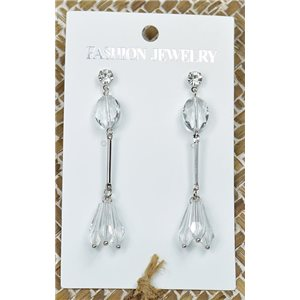 1p Earrings Silver Nail Crystal Pearl Chic Collection 77446