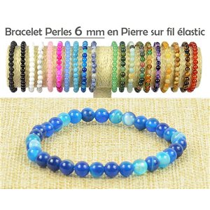 Bracelet Beads 6mm Agate Blue Stone on elastic thread 77490
