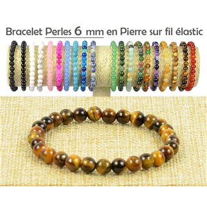 6mm Tiger Eye Beads Bracelet with Elastic Thread 77500