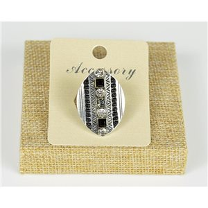 Ethnic Collection 2020 Adjustable ring set with pearls and rhinestones on silver metal 77531