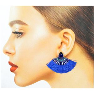 Handmade - 1p Earrings with Nails set with Beads and Strass New Collection Pompon 77648