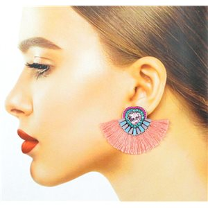 Handmade 1p Earrings Nail Stud Set with Beads and Strass New Pompom Collection 77659