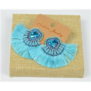 Handmade - 1p Earrings with Nails set with Beads and Strass New Collection Pompom 77660