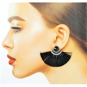 Handmade 1p Earrings Nail Stud Set with Beads and Strass New Pompom Collection 77661