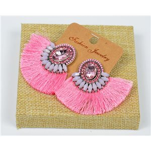 Handmade - 1p Earrings with Nails set with Beads and Rhinestones New Collection Pompom 77666