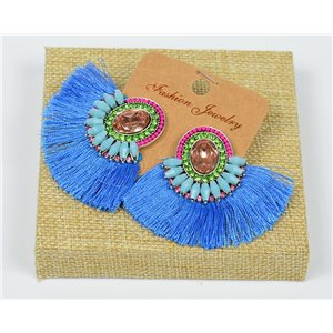 Handmade - 1p Earrings with Nails set with Beads and Strass New Collection Pompom 77668