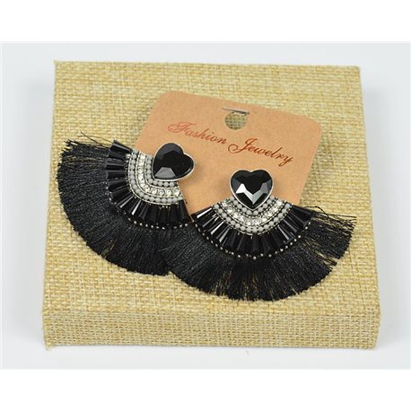 Handmade - 1p Earrings with Nails set with Beads and Strass New Collection Pompon 77669