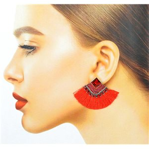 Handmade - 1p Earrings with Nails set with Beads and Strass New Collection Pompon 77674