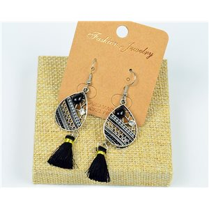 1p Earrings Crochet Tassel and Rhinestone New Ethnic Collection 77605
