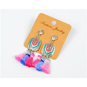 1p Boucles Oreilles à Clou Pompon et Strass New Collection Ethnique 77612