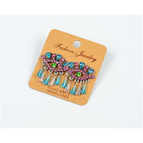 1p Earrings Nail Beads and Rhinestones Ethnic New Collection 77590