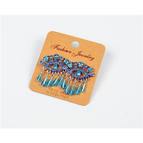 1p Earrings Nail Beads and Rhinestones Ethnic New Collection 77591