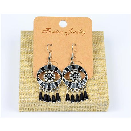1p Earrings Hook Beads and Rhinestone New Ethnic Collection 77597