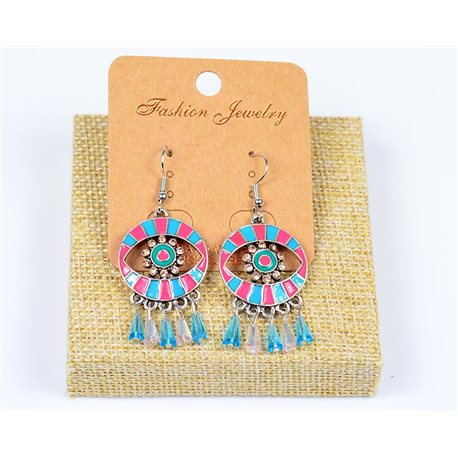 1p Earrings with Crochet Beading and Rhinestone New Ethnic Collection 77598