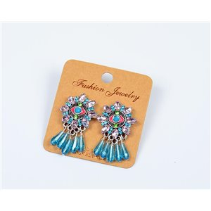 1p Boucles Oreilles à Clou Perles et Strass New Collection Ethnique 77602