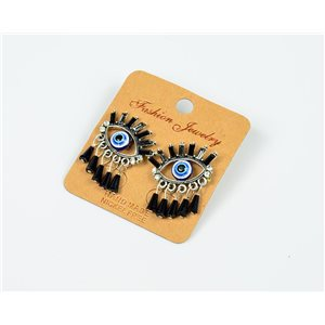 1p Earrings Nail Beads and Rhinestones Ethnic New Collection 77585
