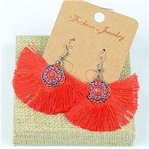 1p Earrings Crochet Tassel and Beads New Ethnic Collection 77622