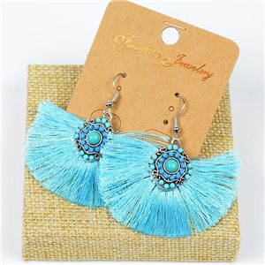 1p Earrings Crochet Tassel and Beads New Ethnic Collection 77623