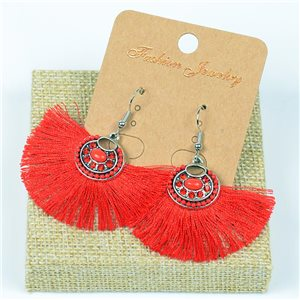 1p Earrings Crochet Tassel and Pearls New Ethnic Collection 77626