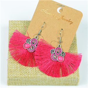 1p Earrings Crochet Tassel and Beads New Ethnic Collection 77630
