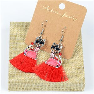 1p Earrings Crochet Tassel and Beads New Ethnic Collection 77638