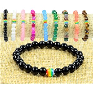 8mm Black Agate Stone Beads Bracelet on Elastic Wire Rainbow Collection 77502